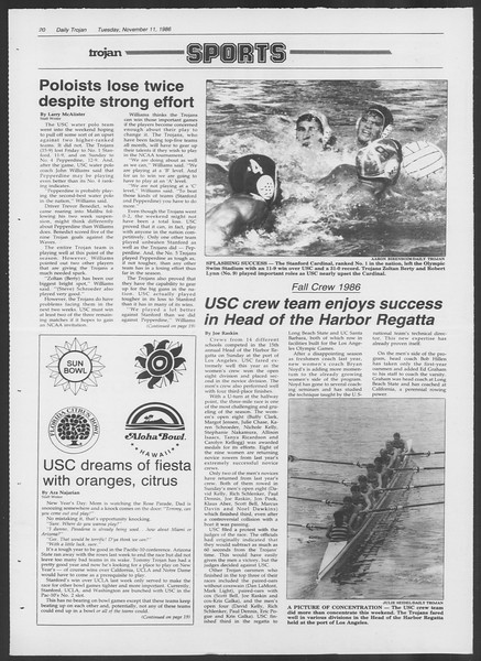 Daily Trojan, Vol. 102, No. 50, November 11, 1986
