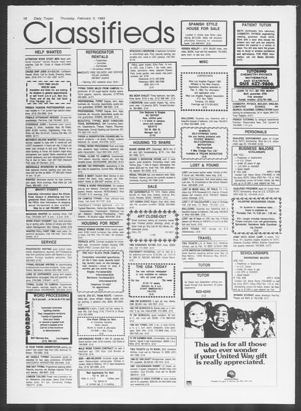 Daily Trojan, Vol. 93, No. 17, February 03, 1983
