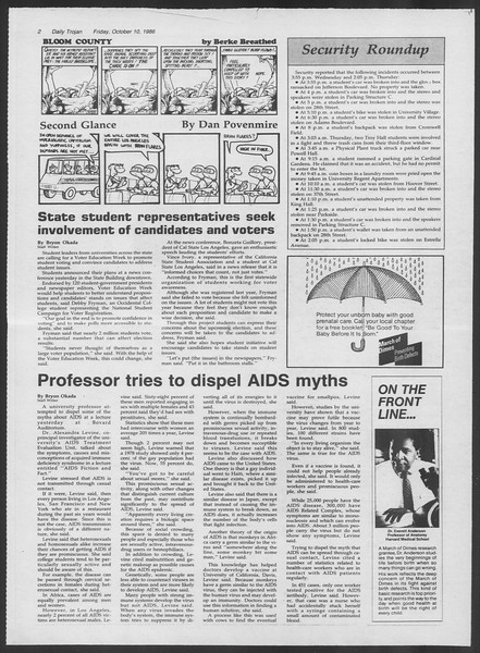 Daily Trojan, Vol. 102, No. 29, October 10, 1986
