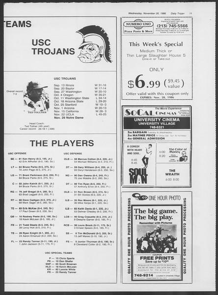 Daily Trojan, Vol. 102, No. 61, November 26, 1986