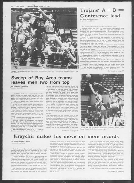 Daily Trojan, Vol. 93, No. 29, February 23, 1983