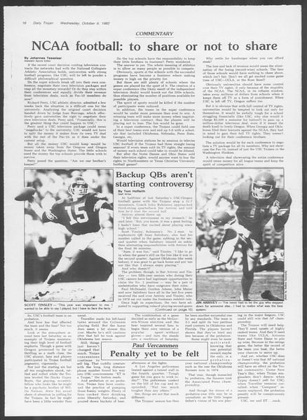 Daily Trojan, Vol. 92, No. 22, October 06, 1982