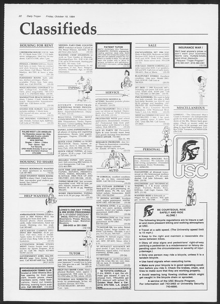 Daily Trojan, Vol. 97, No. 34, October 19, 1984