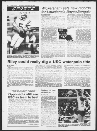 Daily Trojan, Vol. 97, No. 18, September 27, 1984