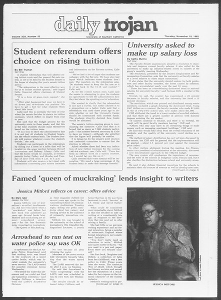 Daily Trojan, Vol. 92, No. 52, November 18, 1982