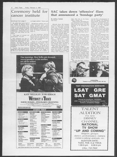 Daily Trojan, Vol. 93, No. 18, February 04, 1983