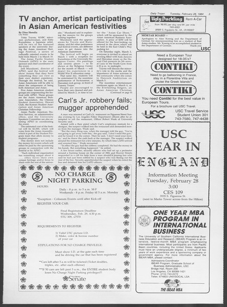 Daily Trojan, Vol. 95, No. 34, February 28, 1984