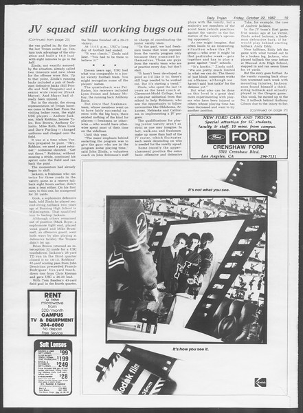 Daily Trojan, Vol. 92, No. 33, October 22, 1982