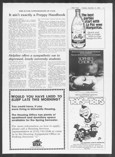 Daily Trojan, Vol. 92, No. 65, December 14, 1982