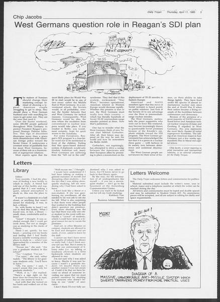 Daily Trojan, Vol. 98, No. 57, April 11, 1985