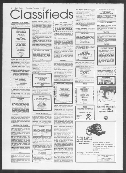 Daily Trojan, Vol. 93, No. 27, February 17, 1983