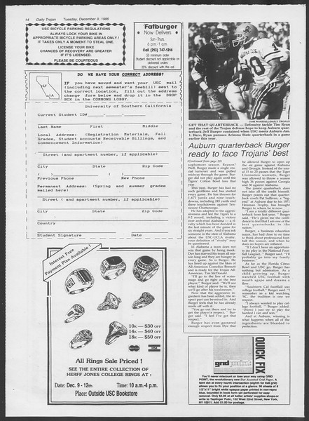 Daily Trojan, Vol. 102, No. 67, December 09, 1986