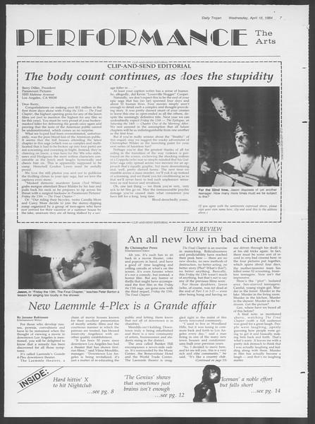 Daily Trojan, Vol. 95, No. 64, April 18, 1984