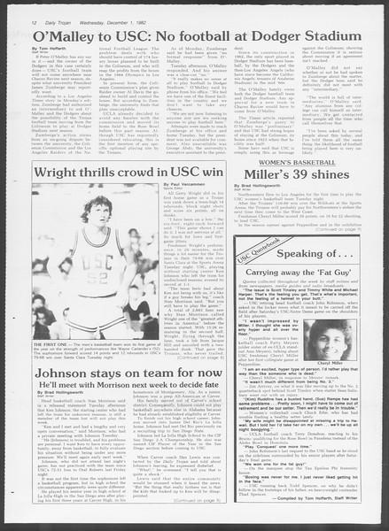 Daily Trojan, Vol. 92, No. 58, December 01, 1982