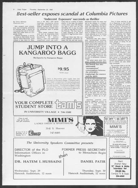Daily Trojan, Vol. 92, No. 13, September 23, 1982