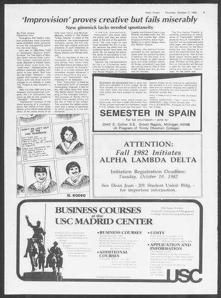 Daily Trojan, Vol. 92, No. 23, October 07, 1982