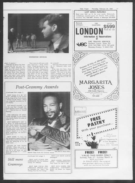 Daily Trojan, Vol. 93, No. 30, February 24, 1983