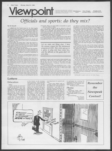 Daily Trojan, Vol. 95, No. 38, March 05, 1984