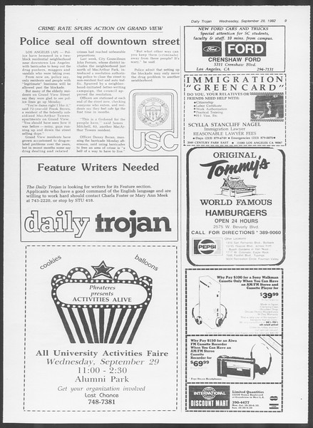 Daily Trojan, Vol. 92, No. 17, September 29, 1982