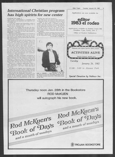 Daily Trojan, Vol. 91, No. 11, January 26, 1982