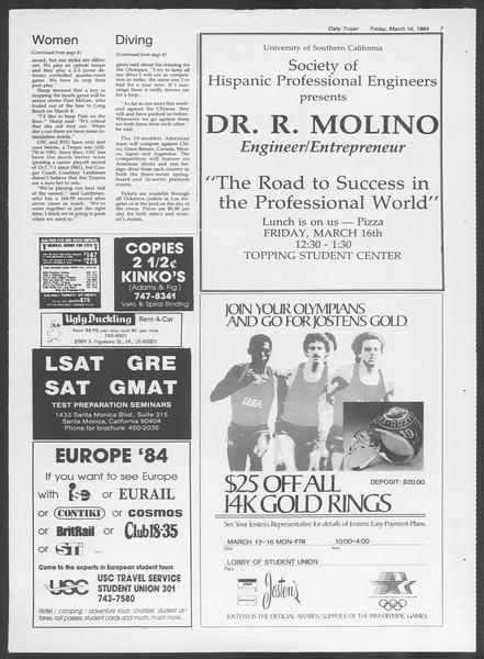 Daily Trojan, Vol. 95, No. 47, March 16, 1984