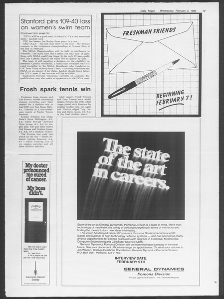 Daily Trojan, Vol. 93, No. 16, February 02, 1983