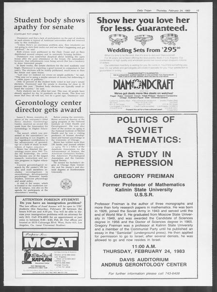 Daily Trojan, Vol. 93, No. 30, February 24, 1983