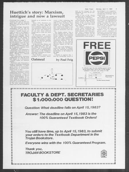 Daily Trojan, Vol. 93, No. 55, April 11, 1983