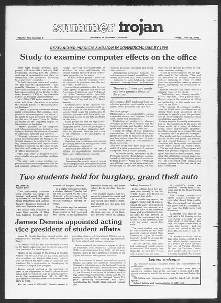 Summer Trojan, Vol. 91, No. 9, June 25, 1982