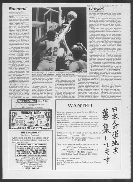 Daily Trojan, Vol. 95, No. 25, February 13, 1984