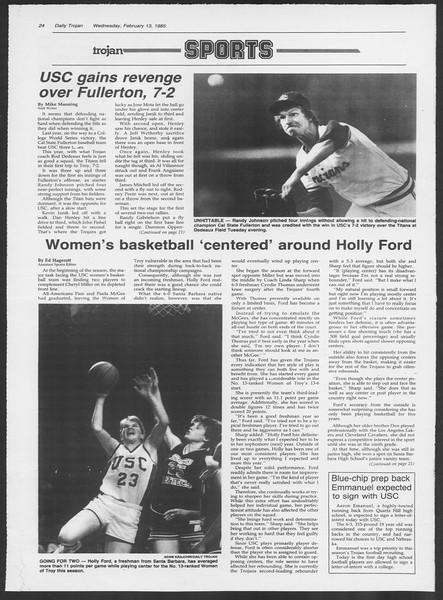 Daily Trojan, Vol. 98, No. 24, February 13, 1985