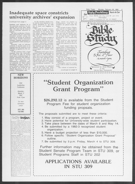 Daily Trojan, Vol. 93, No. 32, February 28, 1983