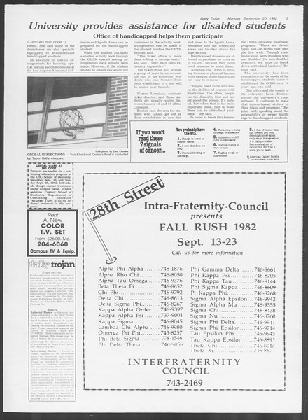 Daily Trojan, Vol. 92, No. 10, September 20, 1982