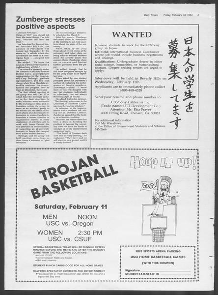 Daily Trojan, Vol. 95, No. 24, February 10, 1984