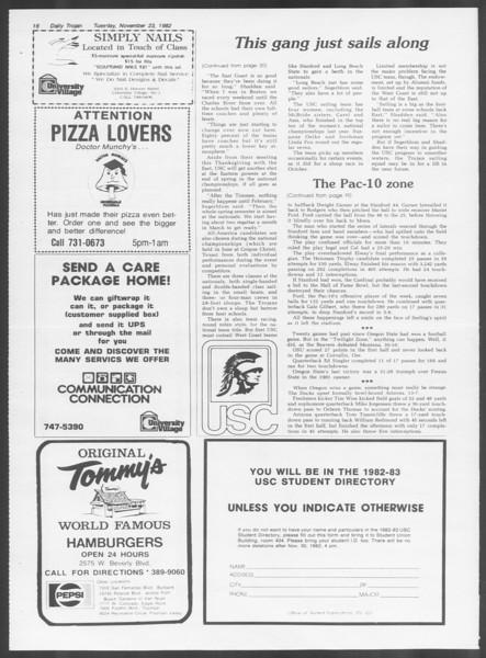 Daily Trojan, Vol. 92, No. 55, November 23, 1982