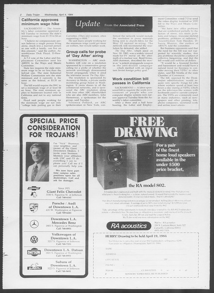 Daily Trojan, Vol. 95, No. 54, April 04, 1984