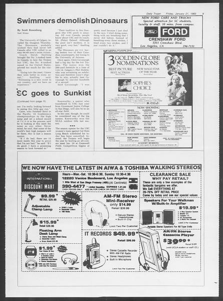 Daily Trojan, Vol. 93, No. 9, January 21, 1983
