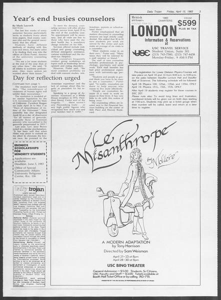 Daily Trojan, Vol. 93, No. 59, April 15, 1983