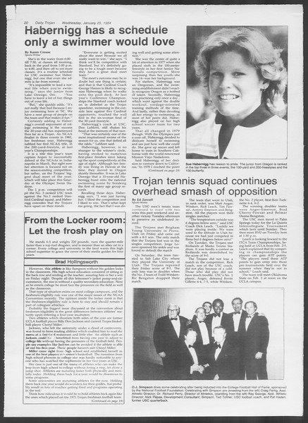Daily Trojan, Vol. 95, No. 12, January 25, 1984