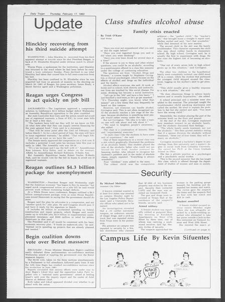 Daily Trojan, Vol. 93, No. 27, February 17, 1983