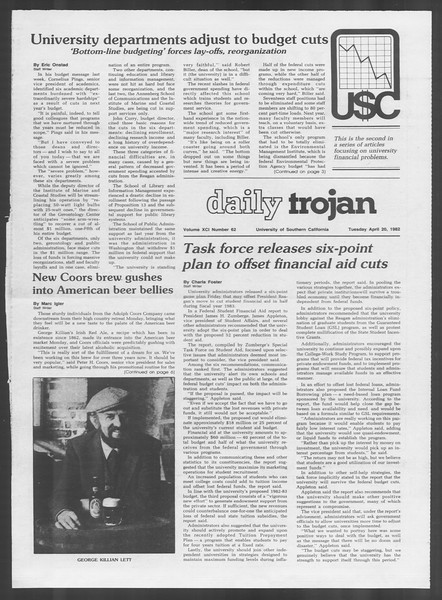 Daily Trojan, Vol. 91, No. 62, April 20, 1982