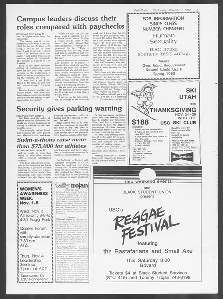 Daily Trojan, Vol. 92, No. 41, November 03, 1982