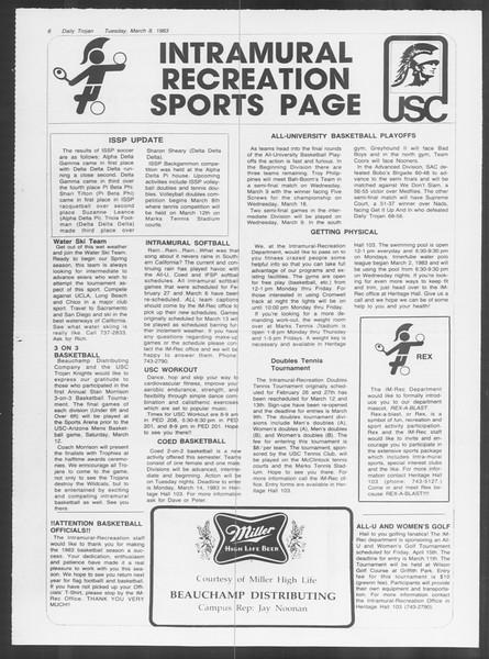 Daily Trojan, Vol. 93, No. 38, March 08, 1983