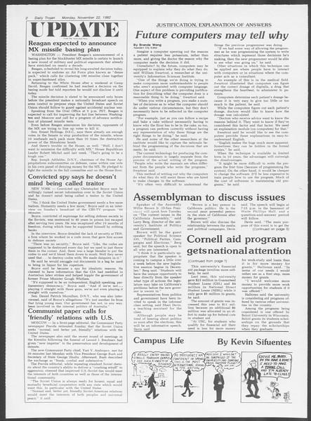 Daily Trojan, Vol. 92, No. 54, November 22, 1982
