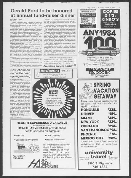 Daily Trojan, Vol. 95, No. 49, March 20, 1984