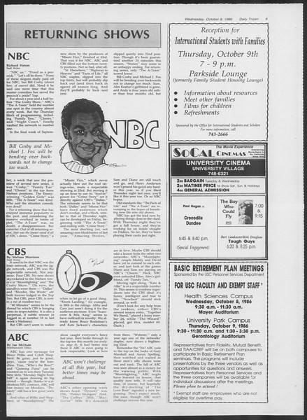 Daily Trojan, Vol. 102, No. 27, October 08, 1986