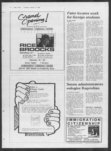Daily Trojan, Vol. 91, No. 3, January 14, 1982