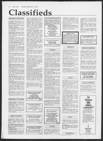 Daily Trojan, Vol. 97, No. 16, September 25, 1984