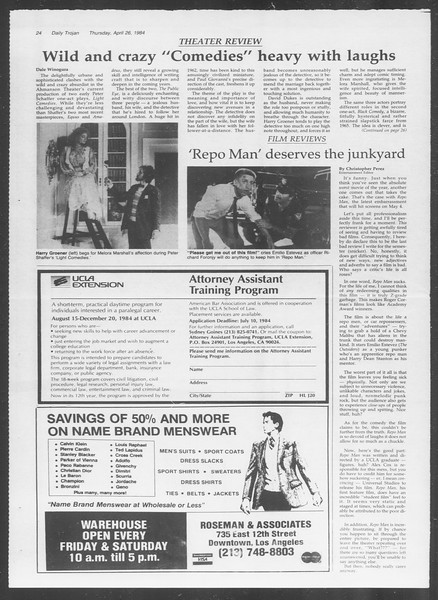 Daily Trojan, Vol. 95, No. 70, April 26, 1984