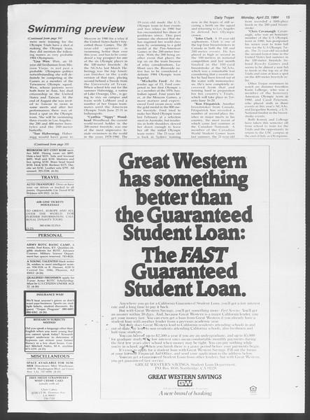 Daily Trojan, Vol. 95, No. 67, April 23, 1984